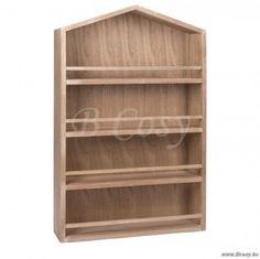"""J-Line Plantenrek huisje met 4 leg planken huisvorm in naturel hout 65 <span style=""""font-size: 0.01pt;"""">Jline-by-Jolipa-51946</span>"""