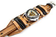 Steampunk Leather Watch Cuff Men's watch Leather Wrist
