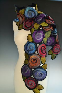 Irene Scarf by Elizabeth Rubidge (Silk & Wool Scarf) Nuno Felting, Needle Felting, Shibori, Fabric Art, Fabric Roses, Silk Fabric, Collar Hippie, Silk Wool, Dyed Silk