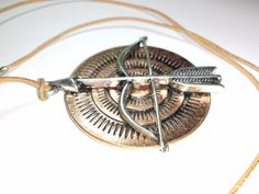Brown Leather Cord with Bow and Arrow Pendant