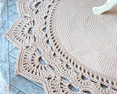 Round area rug (62,5 in), crochet rug, crochet decor, doily rug, carpet, shebby chic floor decor by LaceMats LacePistachio It complements any interior, from the palace to the cottage. But especially well in the dining room. This crochet rug will not remain without attention of your visitors