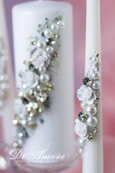 Velas de boda invierno helada boda plata y perla unidad de