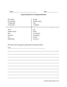Linking Words in Paragraph Worksheets