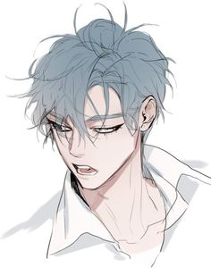 Ideas Drawing Anime Guys Illustrations For 2019 Hot Anime Boy, Cute Anime Guys, Anime Boys, Anime Guy Blue Hair, Blue Anime, Dark Anime, Guy Drawing, Manga Drawing, Drawing Faces