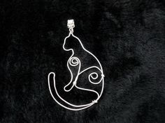Silver cat necklace Kitty wire wrapped pendant от FairyInWoods