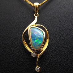 And here comes the yellow gold. Opal Gemstone, Gemstone Jewelry, Australian Opal Jewelry, Opal Necklace, Masquerade, Artisan Jewelry, Glitters, Fractals, Jewlery
