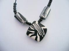 Black and white statement necklace  lozenge by LiloLilsEmporium