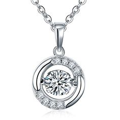 """Dancing Diamond"" Sterling Silver Cubic Zirconia Pendant Necklace, 1.4 Cttw, 42+3cm Sam's Jewelry http://www.amazon.com/dp/B019YT2870/ref=cm_sw_r_pi_dp_0E-8wb0P9PG11"