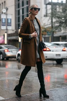 Blonde Woman Wearing Zara Camel Wool Coat Topshop Grey Sweater Dress Chloe Faye Handbag Stuart Weitzman Black Over the Knee Boots Fashion Jackson Dallas Blogger Fashion Blogger Street Style
