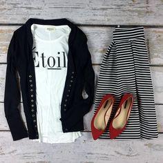 Pin Striped Midi Skirt | SexyModest Boutique #striped #skirt #black #white #love #classy