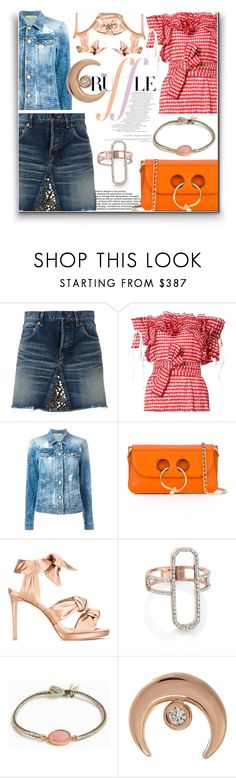 """""""In Love with Ruffle!!"""" by stylediva20 ❤ liked on Polyvore featuring Yves Saint Laurent, Rosie Assoulin, Versace, J.W. Anderson, Jimmy Choo, Monica Vinader, BROOKE GREGSON and Jacquie Aiche"""