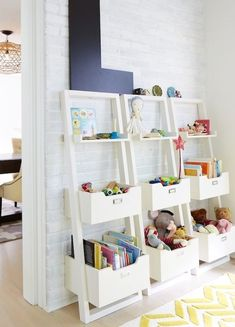 Wall leaning toy storage idea
