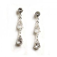 Long crystal teardrop wedding earrings