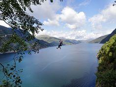 Zip-line in Norway.