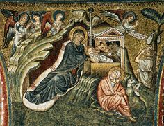 Nativity by  TORRITI, Jacopo (active c. 1270-1300)  1296 (completed) Mosaic Santa Maria Maggiore, Rome