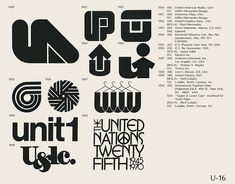U-16  Collection of vintage logos from a mid-70's edition of the book World of Logotypes.