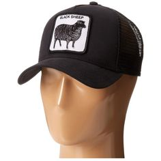 Goorin Brothers Animal Farm Naughty Lamb (Black) Caps ($30) ❤ liked on Polyvore featuring accessories, hats, black, embroidered baseball hats, mesh back hats, brimmed hat, goorin hats and baseball caps