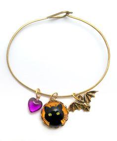 Look what I found on #zulily! Gold & Purple Whiskers & Bat Charm Bracelet by Schmutzerland #zulilyfinds