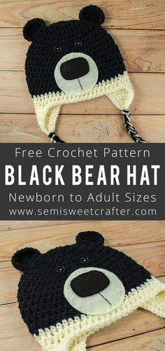 Crochet Beanie Patterns Introducing my newest FREE crochet pattern, the Black Bear Hat. But no need to worry, this cuddly little fella is all cuteness and no bite. Crochet Bear Hat, Crochet Animal Hats, Crochet Beanie Pattern, Crochet Kids Hats, Crochet Baby Booties, Crochet Dolls, Free Crochet, Crochet Patterns, Crochet Hoodie