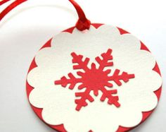 Set of 6 Handmade Snowflake Tags, Snowflake Gift Tags,  Red and White Tags, Holiday Tag, Snowflake, Favor Tags, Holidays, Christmas, Winter
