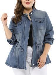 Women's Plus Size Stand Collar Zip-up Drawstring Denim Jacket