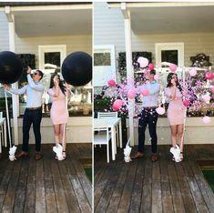 Gender Reveal confetti filled balloons. www.thepartyshere.com.au #genderreveal #pink #balloons #babygirl