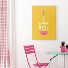 "Spice up your kitchen with some punny word art, like this ""Whip it Good"" print by Kate Lillyson, available from GreatBigCanvas.com"