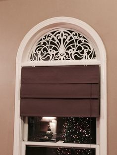 45 Creative Fake Window Decor - Diy Faux Wrought Iron Arch For Windows Using Rubber Door - Arched Window Coverings, Curtains For Arched Windows, Swag Curtains, Door Window Treatments, Half Moon Window, Rubber Door Mat, Iron Windows, Bedroom Windows, Basement Remodeling