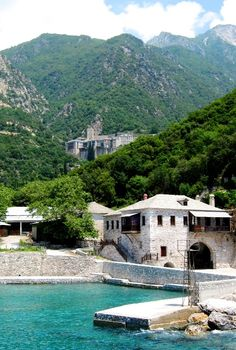 Arriving at Paulou - , Agion Oros UNESCO Heritage site Mt Athos Macedonia Greece Heritage Center, Heritage Site, Macedonia Greece, Mountain, Europe, Houses, Mansions, House Styles, World