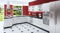 cuisine grise et rouge design intérieur moderne