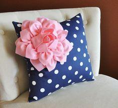 Decorative Pillow Light Pink Corner Dahlia on Navy and White Polka Dot Pillow Home Decor Nursery Decor