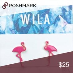 Flamingo Palm Earrings Pink Flamingo Wila Stud Earrings. Fun design for summer days and girls who love pink! Enamel pink design with gold post. Wila Jewelry Earrings