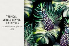 Pineapples,jungle leaves pattern  @creativework247