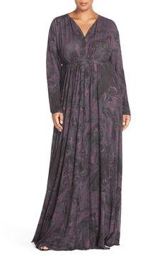 Melissa McCarthy Seven7 Print Jersey Maxi Dress (Plus Size)