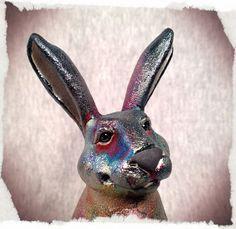 OOAK Raku Bunny  BINGO  Rabbit sculpture by SmilesUnlimited, $95.00