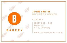 Framed White Orange Design with patterned background and clean lines on bakery business cards