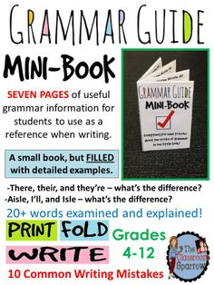 Great way to start the year as schedules are adjusted and students arrive through the first couple weeks. This resource includes 10 common writing mistakes that students are often confused with. A helpful resource for any form of writing! Grammar And Punctuation, Teaching Grammar, Teaching Language Arts, Teaching Writing, Teaching English, Essay Writing, Grammar Games, Grammar Book, Spanish Grammar