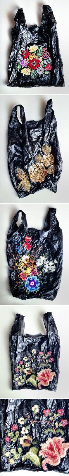 embroidery on plastic bags <3 nicoletta dela brown