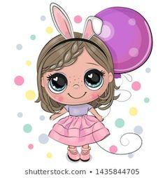 Cute Cartoon Girl with Balloon. Greeting card Cute Cartoon girl with rabbit ears with balloon stock illustration Cartoon Cartoon, Cute Cartoon Girl, Cartoon Images, Cartoon Drawings, Cute Drawings, Cartoon Characters, Its A Girl Balloons, Girl Clipart, Rabbit Ears