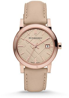 Burberry Check Stamped Leather Strap Watch
