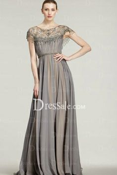 Fetching Chiffon Column Evening Gown with Lavish Lace