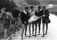 Teenagers hiking across the German countryside is nothing new. The most noted are the Wandervogel (wandering birds) of the early 1900s who rebelled against materialist society in favor of folklore tradition and living off the land. Pictured below are young men hiking in 1950 & 1930 Germany.      The Black Forest, 1950s    The Black Forest, 1950s    1930s    1930s    1930s    1930s    1930s   Making lunch 1930s  1930s  via ipernity