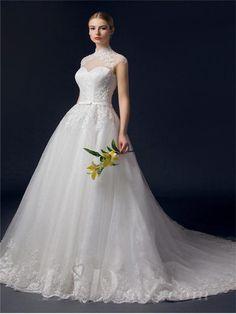 Illusion Neckline Lace Appliques A-line Wedding Dress