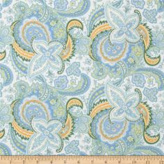 American Bouquet Flannel Large Paisley White from @fabricdotcom  Designed by Faye Burgos for Marcus Fabrics, this soft, single napped (brushed on face side only) flannel fabric is perfect for quilting and apparel. Colors include yellow, gold, shades of blue, white and green.
