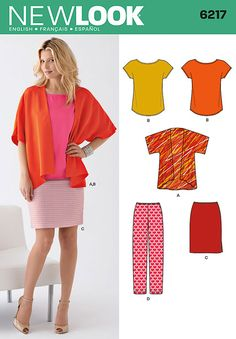New Look Ladies Easy Sewing Pattern 6217 Kimono Style Jacket, Tops, Skirt & Pants New Look Patterns, Easy Sewing Patterns, Simplicity Sewing Patterns, Vintage Sewing Patterns, Clothing Patterns, Skirt Patterns, Coat Patterns, Blouse Patterns, Motif Kimono