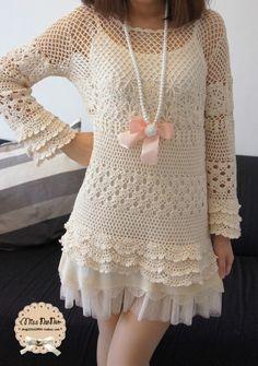 vestido corto.en lana o croche
