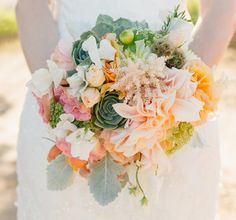 Passion Flowers Design; www.passionflowersdesign.com; Lush Bridal bouquet with Cafe Au Lait Dahlias, Succulents, Sweet Peas, Garden Roses, Ranunculus, Dusty Miller, photo by Marianne Wilson Photography at Firestone Vineyard