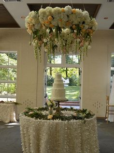 That that perfect venue for your floating chandelier! Dripping with flowers is how we like to leave it!