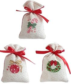 Christmas Gift Bag Cross Stitch Kits - Gold/Red, Set of 3