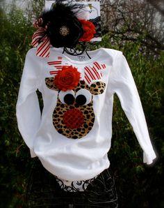 Reindeer onesie & couture christmas headband